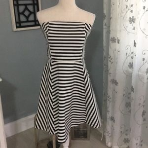 Black and white striped strapless dress
